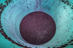 The remnants of fermenting grapes lay at the bottom of a tank along the Naramata Bench, BC.